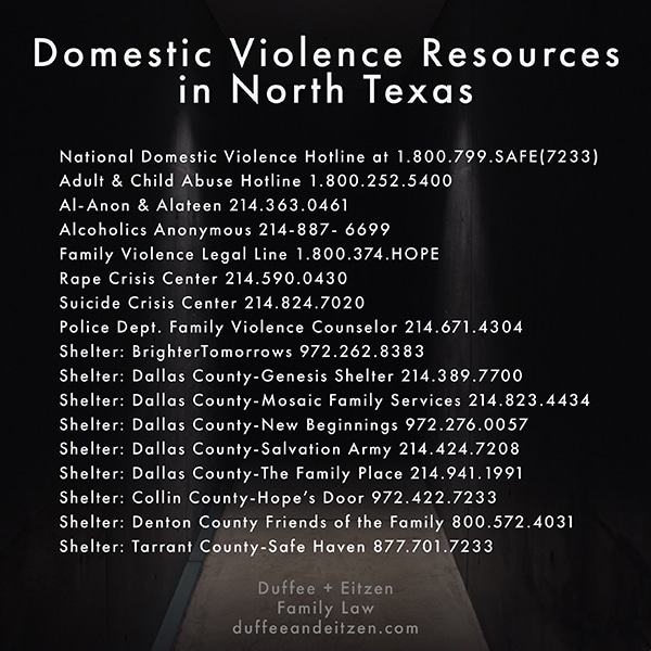 Domestic Violence Resources in North Texas, as seen in duffeeandeitzen.com article on family violence