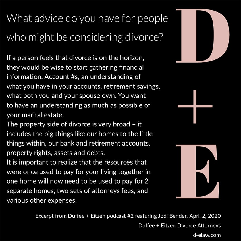 Your #divorce questions answered on the Duffee + Eitzen podcast https://www.duffeeandeitzen.com/podcast-2/